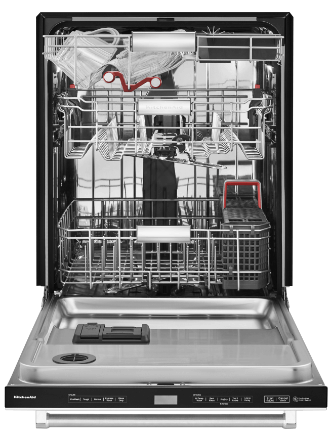 Close up of an open dishwasher with a third level rack