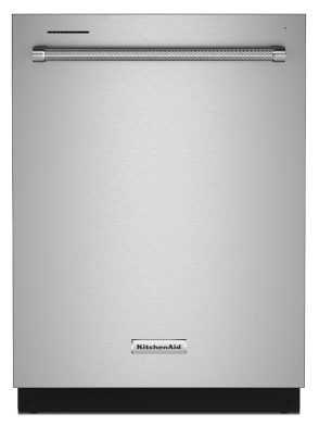 Front of a stainless steel dishwasher with a towel bar